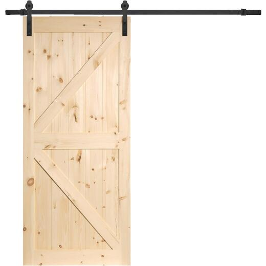 Erias Home Designs 36 In. x 84 In. x 1-3/8 In. K-Style Stain Grade Unfinished Barn Door