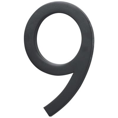 Hy-Ko Architectural Series 6 In. Satin Black House Number Nine