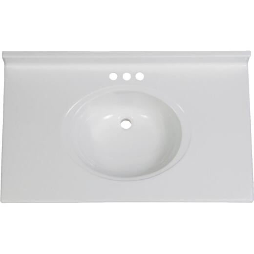 Imperial Marble 37 In. W x 22 In. D White Cultured Marble Vanity Top with Oval Bowl