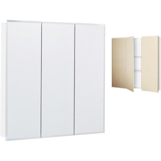 Continental Cabinets Frameless Beveled 30 In. W x 29-3/4 In. H x 4-1/4 In. D Tri-View Surface Mount Medicine Cabinet