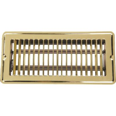 Home Impressions 4 In. x 10 In. Bright Brass Steel Floor Register