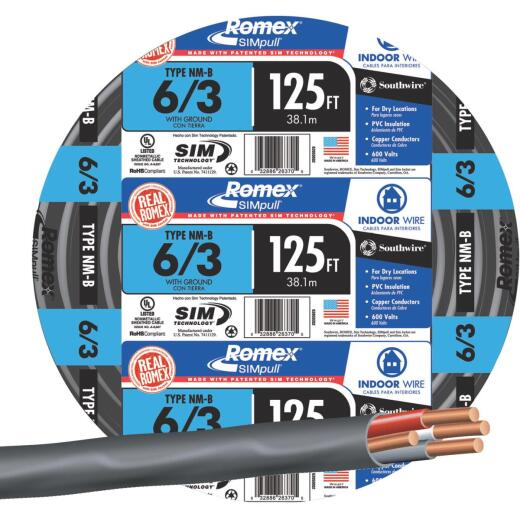 Romex 125 Ft. 6-3 Stranded Black NMW/G Wire