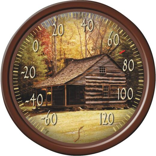 "Taylor SpringField 13-1/4"" Dia Plastic Dial Lodge Indoor & Outdoor Thermometer"