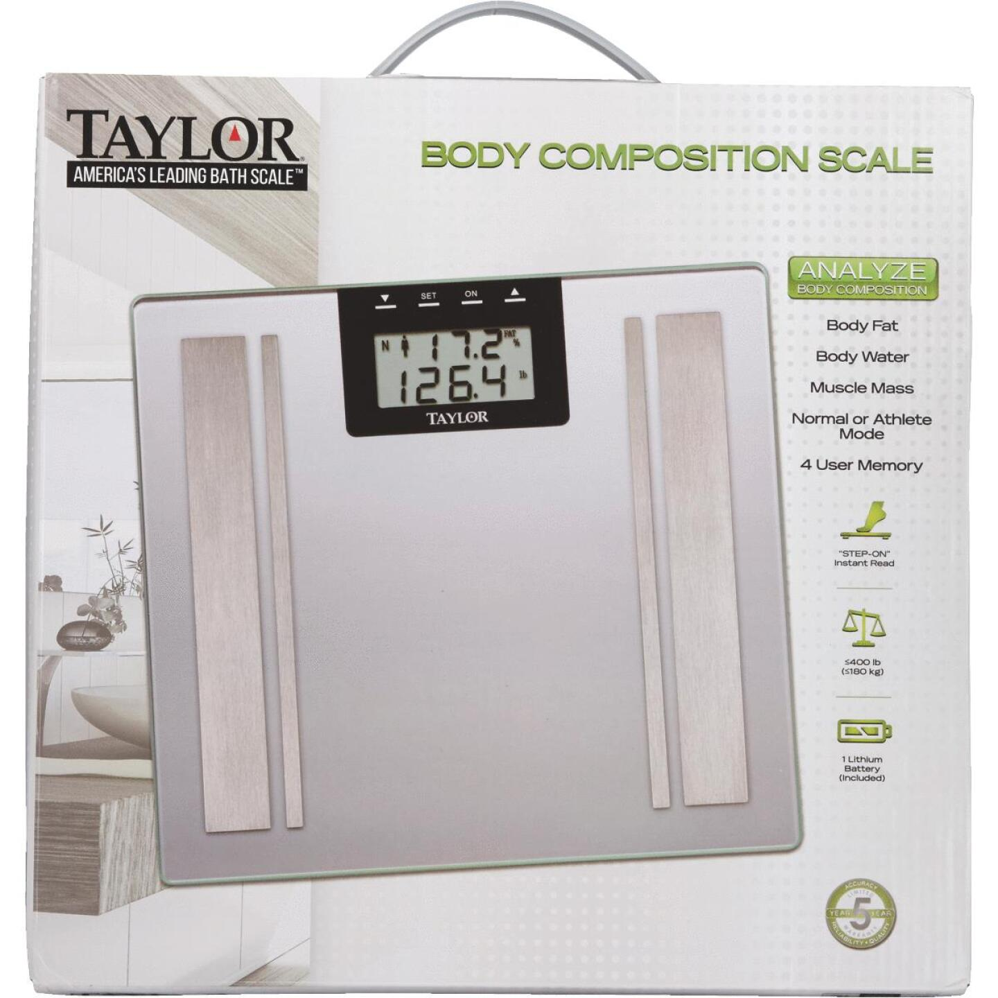 Taylor Digital 400 Lb. Body Analyzer Bath Scale, Black Image 2