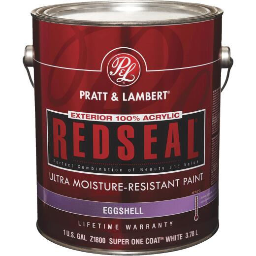 Pratt & Lambert RedSeal 100% Acrylic Eggshell Exterior House Paint, Super One-Coat White, 1 Gal.